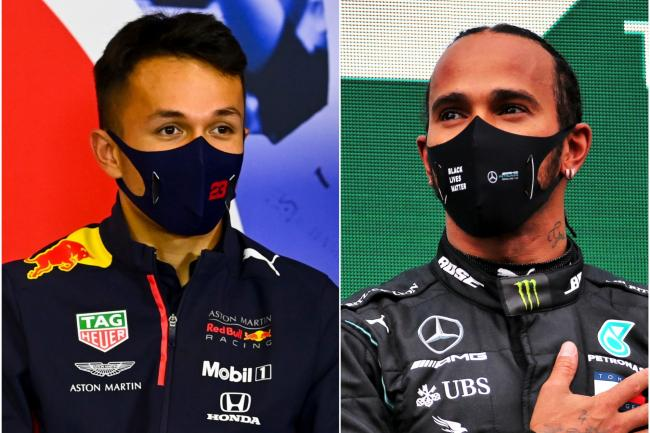 Alexander Albon, left, and Lewis Hamilton