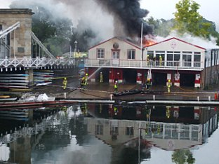 The fire which wrecked the club