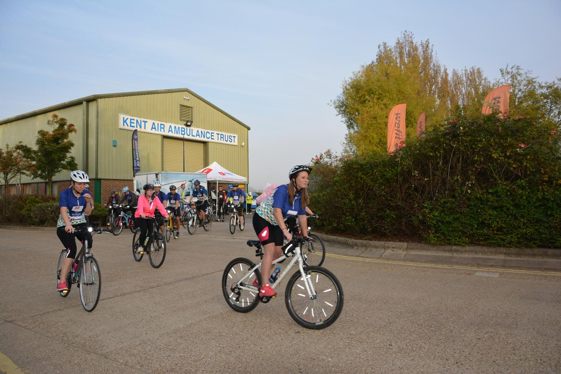 Riders setting off from the Air Ambulance base at Marden at the start of last year's Double 100 Cycle Challenge