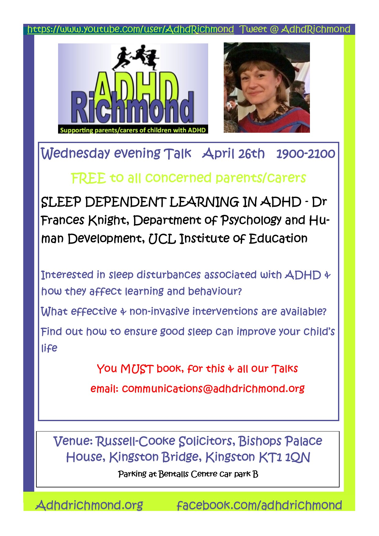 ADHD Richmond free evening Talk on Sleep Dependent Learning in ADHD