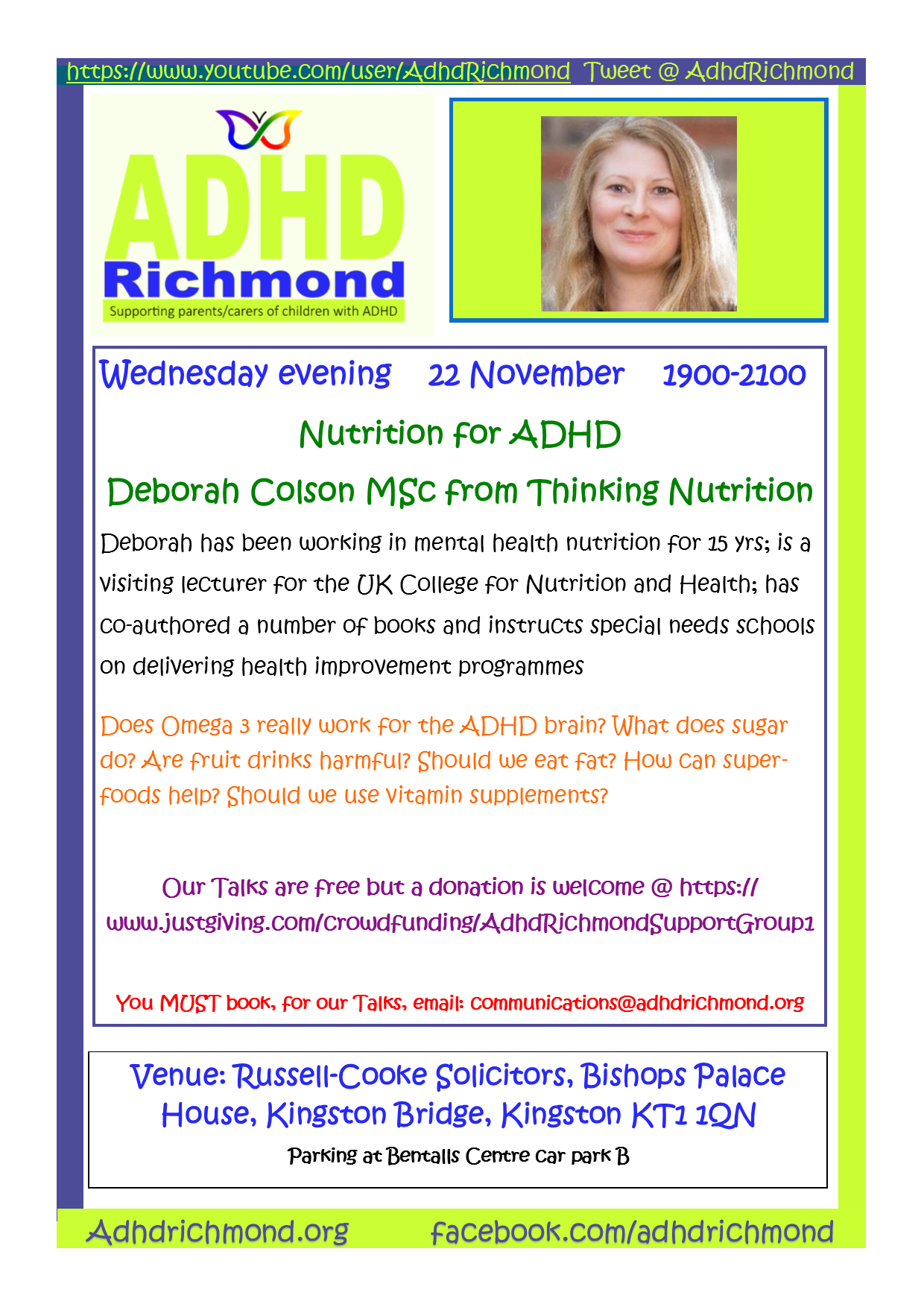 ADHD Richmond free evening Talk on Nutrition