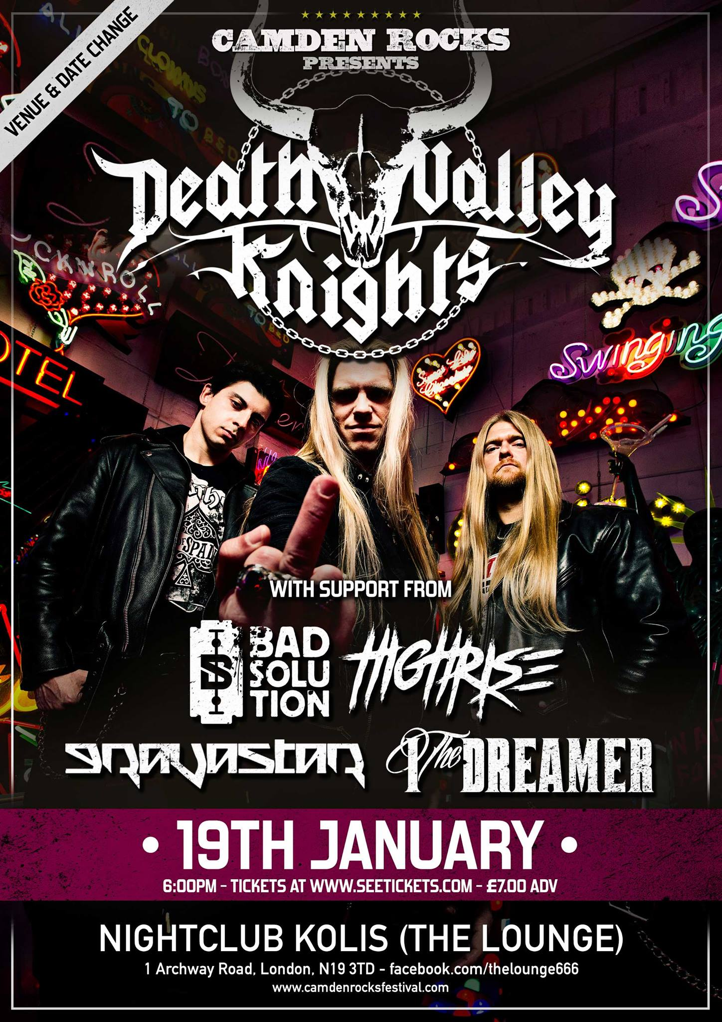 Camden Rocks presents Death Valley Knights and more at Proud