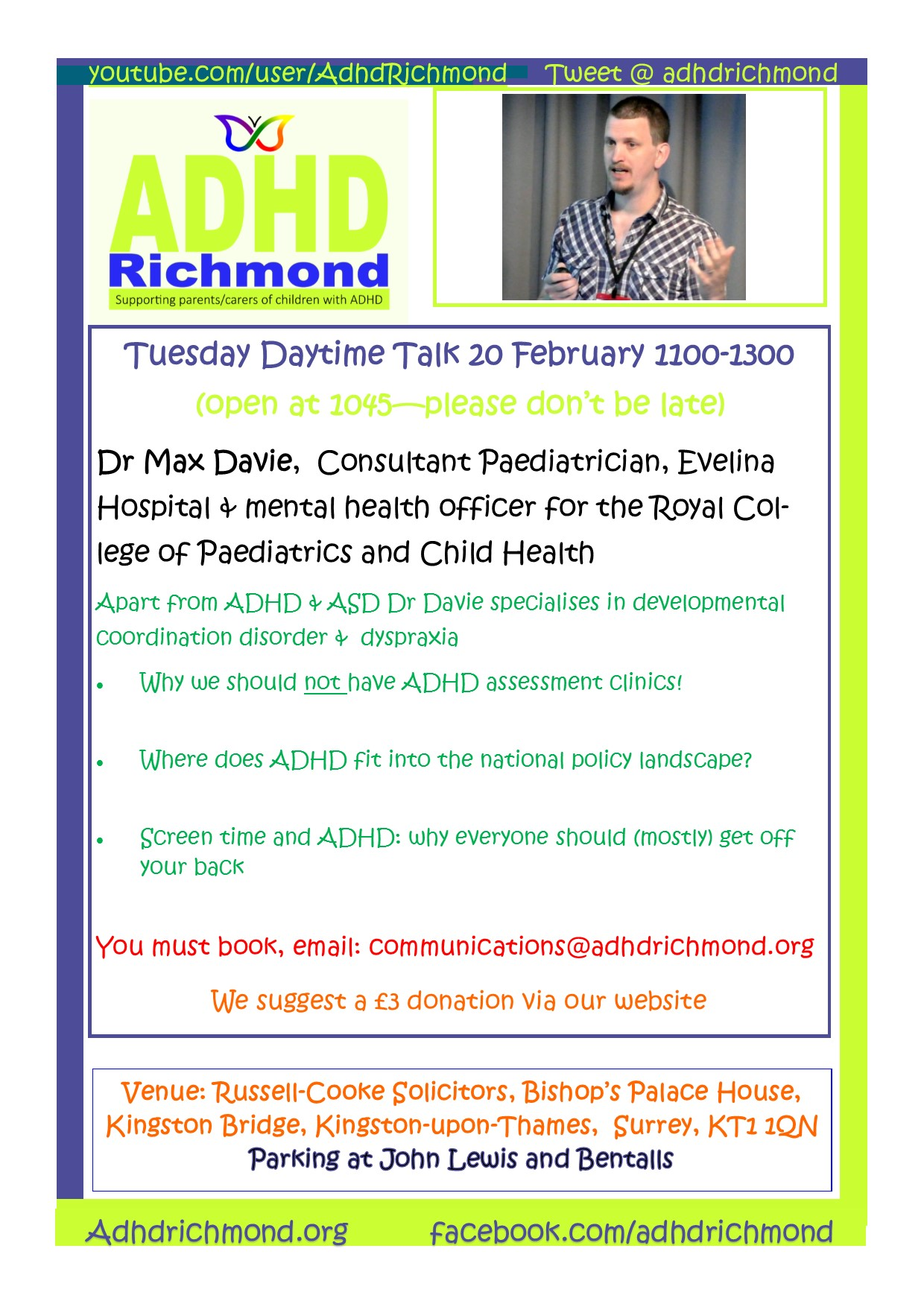 ADHD Richmond free daytime Talk on ADHD, Autism & Dyspraxia by Dr Max Davie