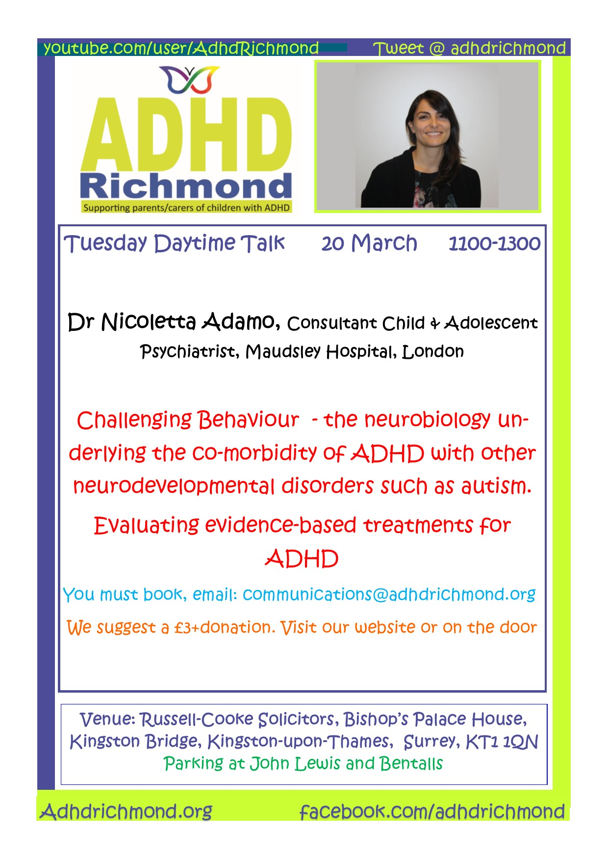 ADHD Richmond free daytime Talk on ADHD & Challenging Behaviour
