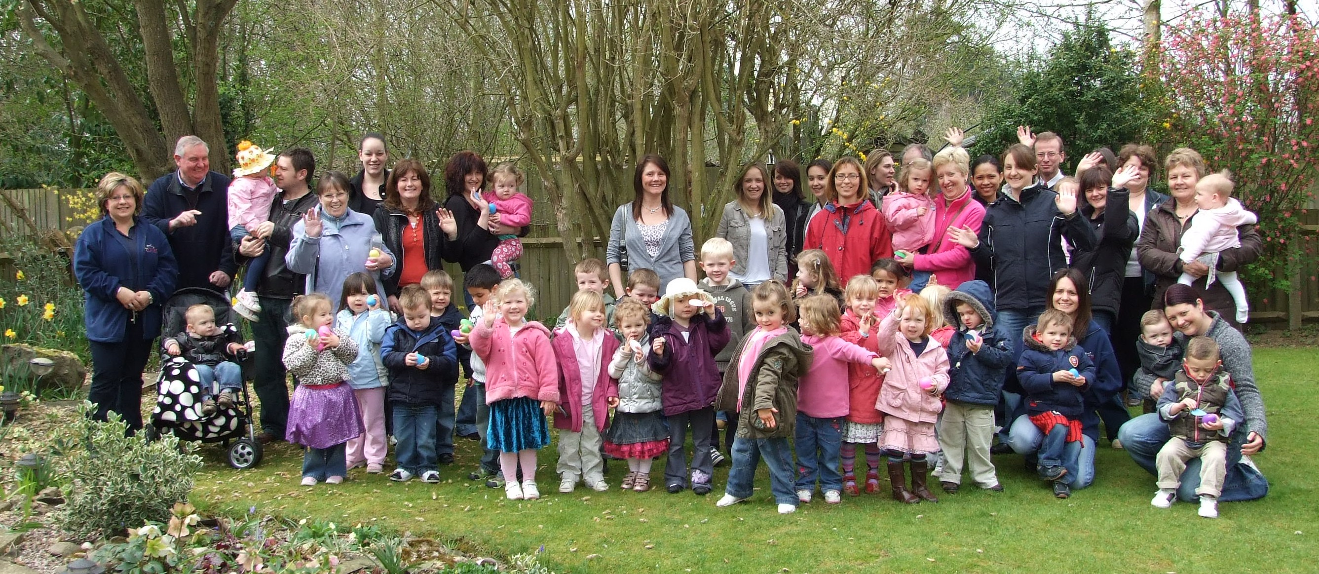 Youngsters at Horley Row Community Pre-school line up for their Easter egg hunt