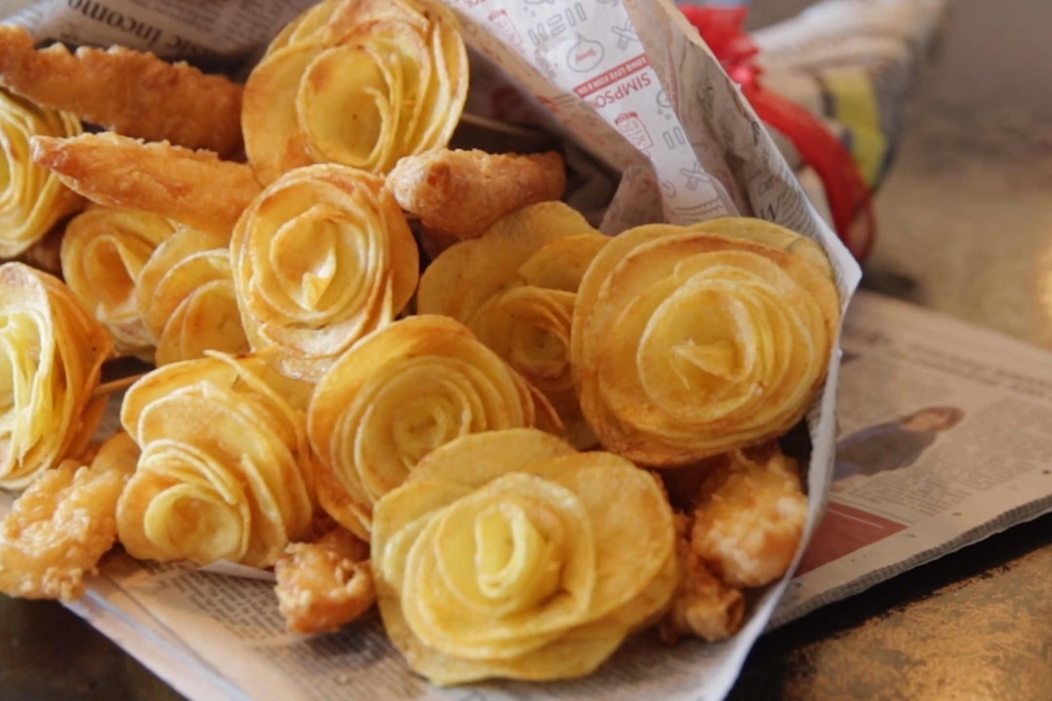 Fish and chip bouquet (screenshot/PA)